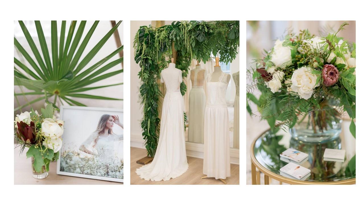 Décoration florale et robe de mariée