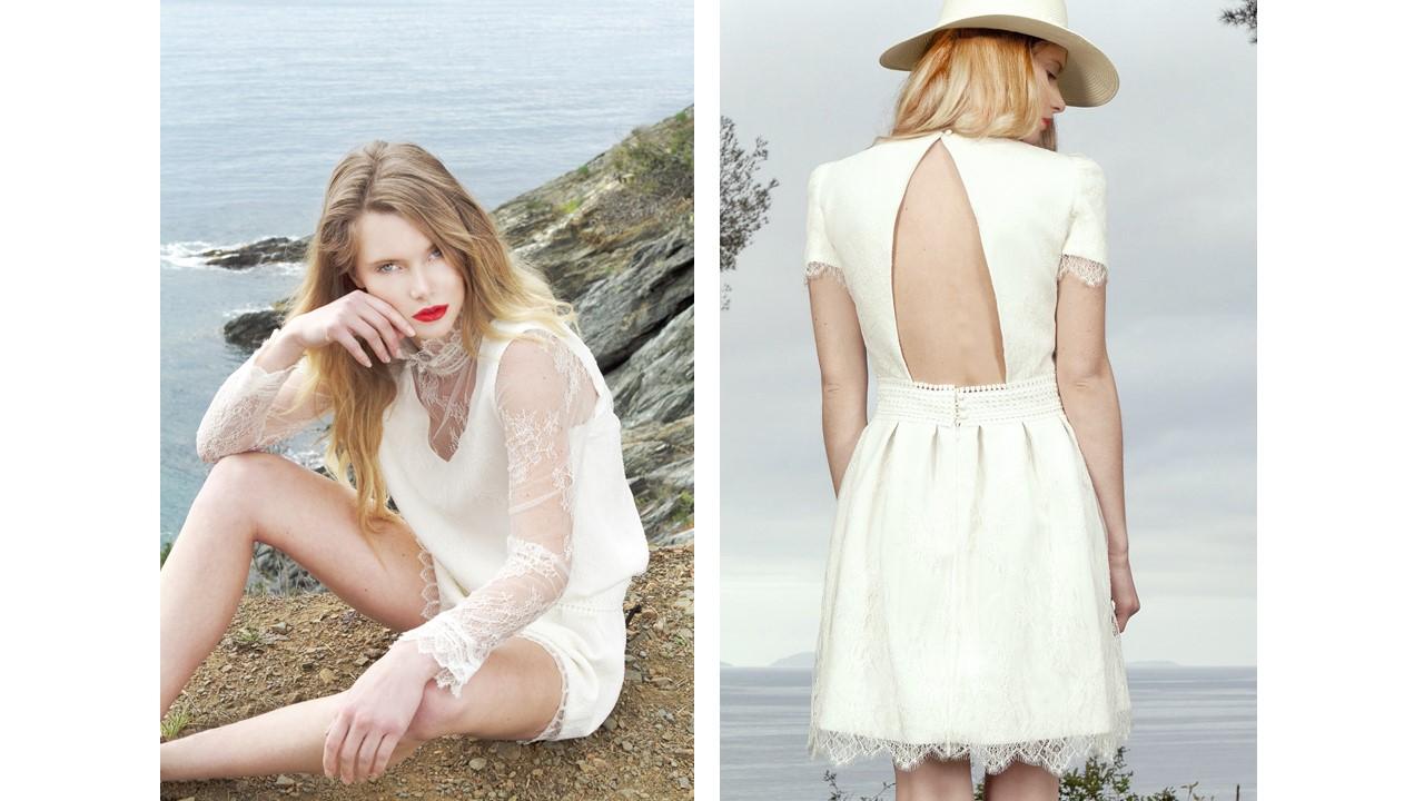Robe de mariée courte de face et de dos